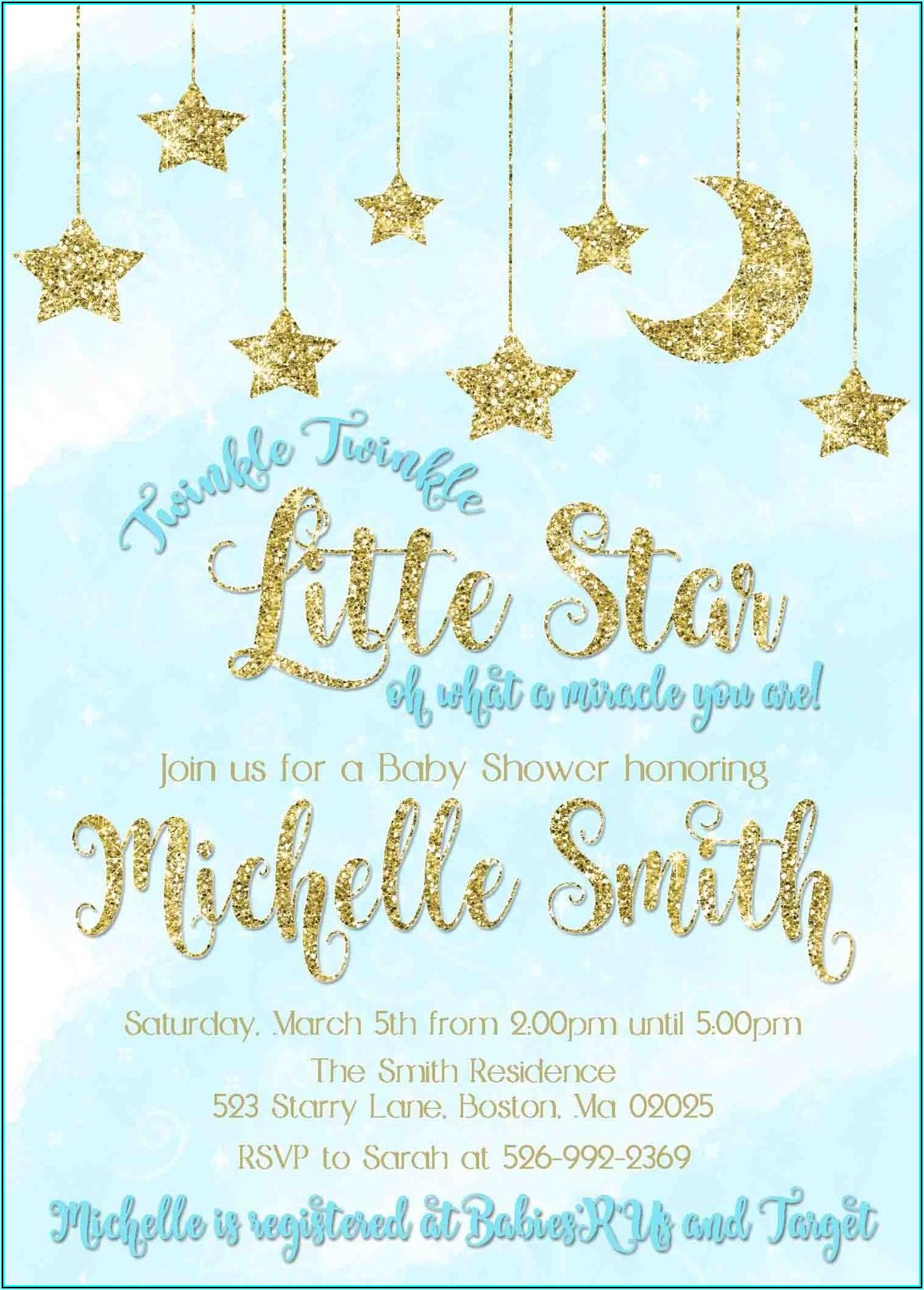 Twinkle Twinkle Little Star Baptism Invitation Template