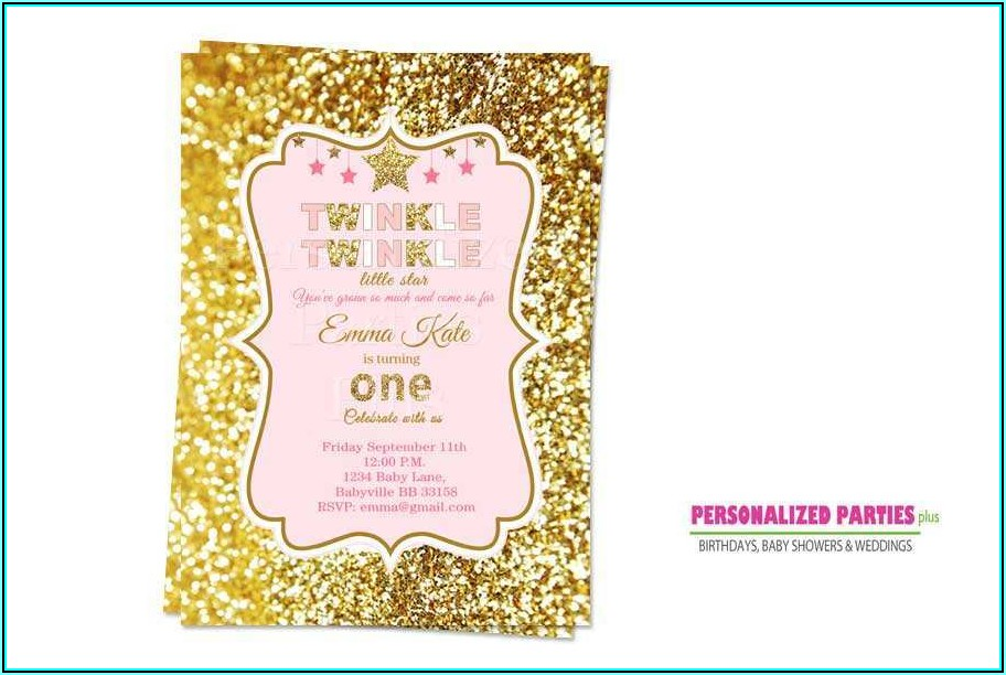 Twinkle Twinkle Little Star Birthday Invitation Template