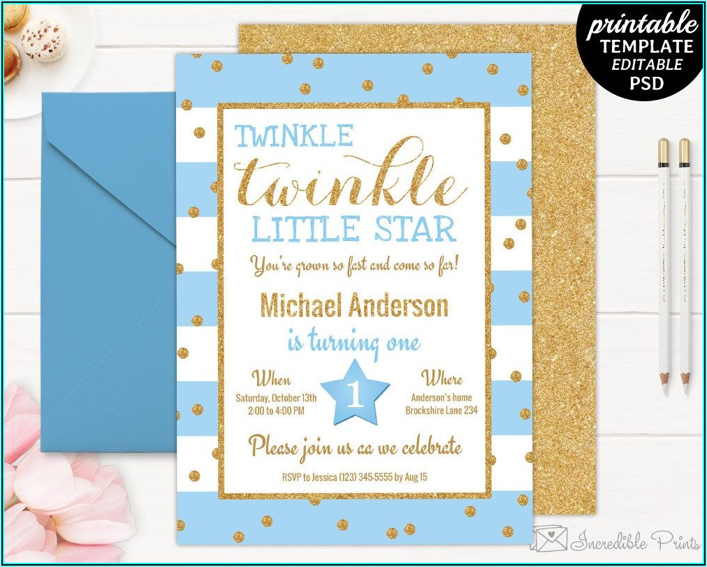Twinkle Twinkle Little Star Party Invitations Templates
