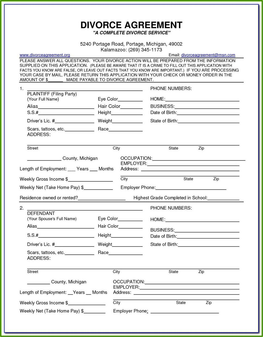 Uncontested Divorce Forms In Nj