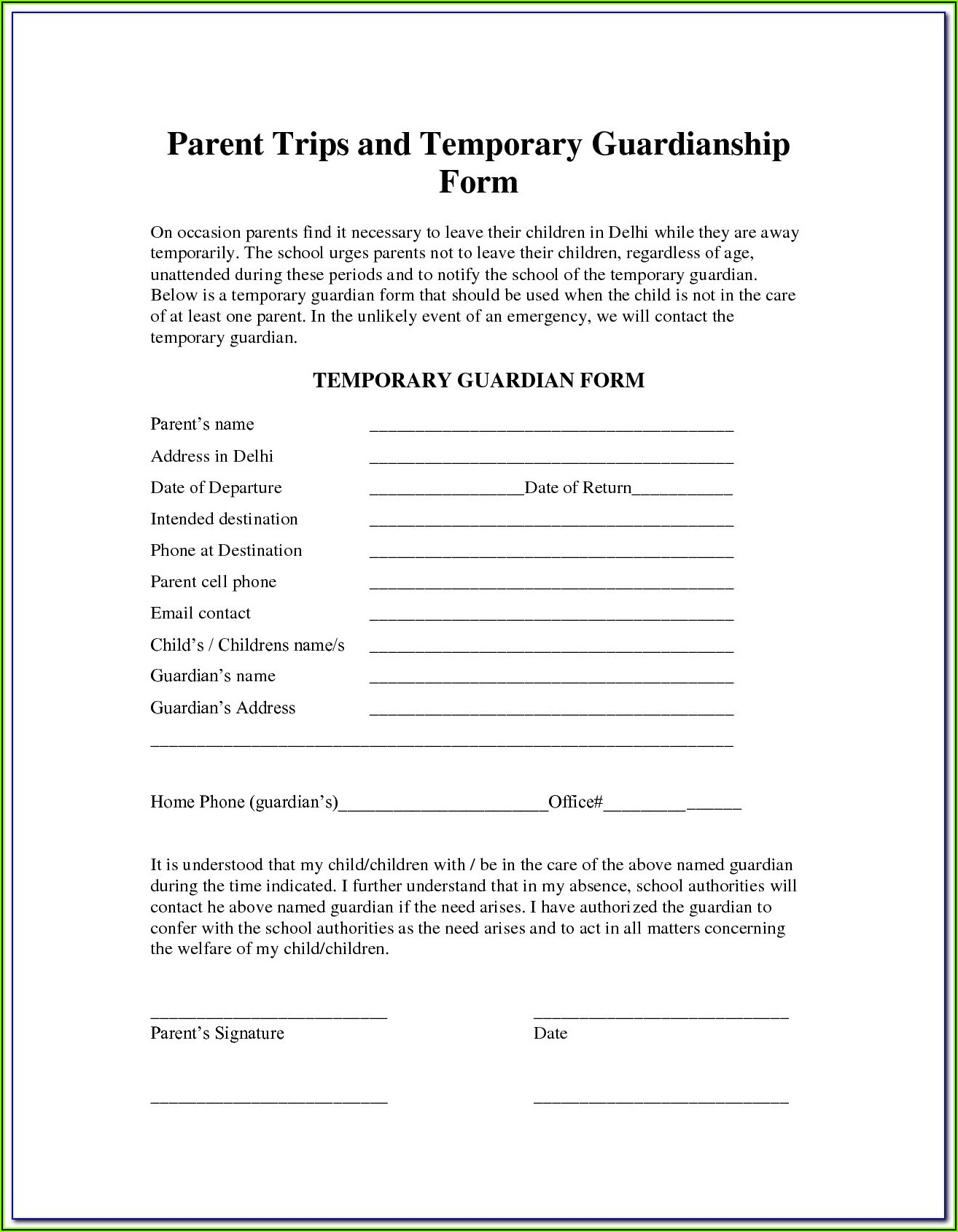 Utah Temporary Guardianship Form