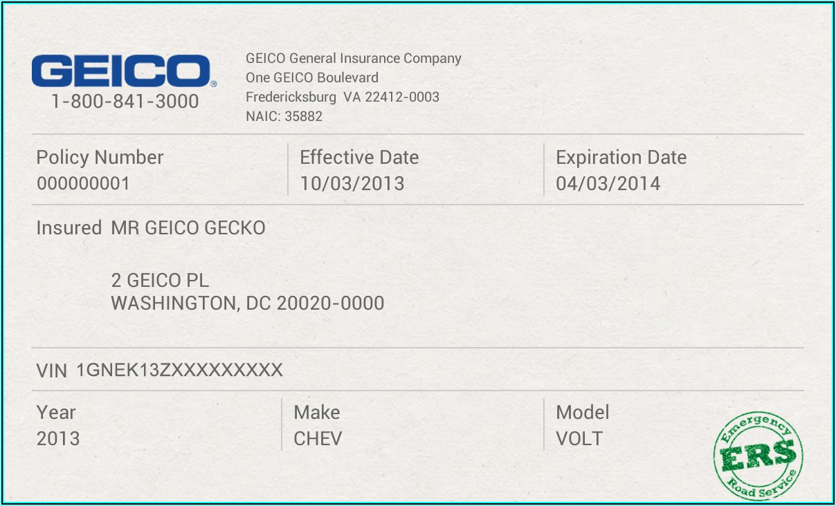 Vehicle Insurance Card Template
