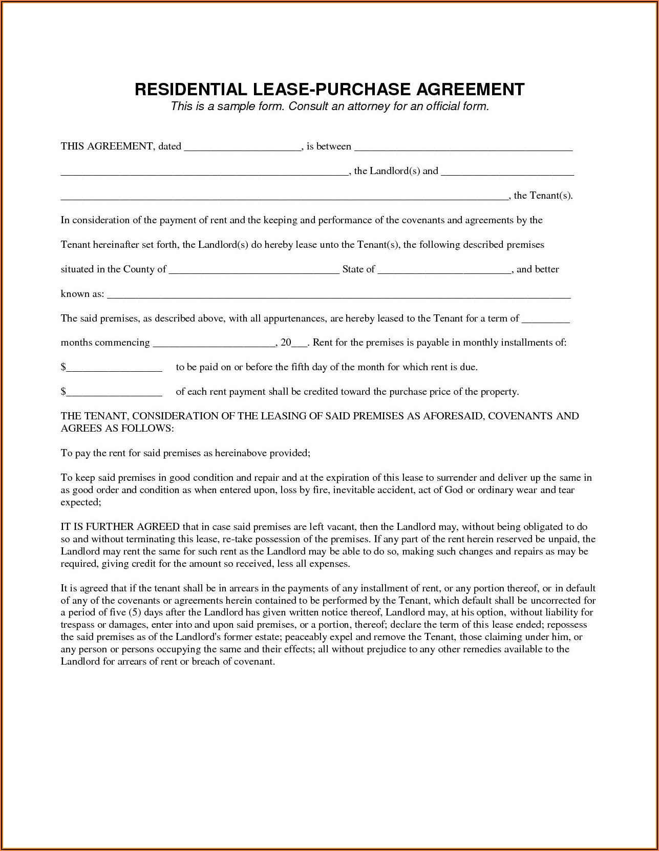 Vehicle Lease Template Canada