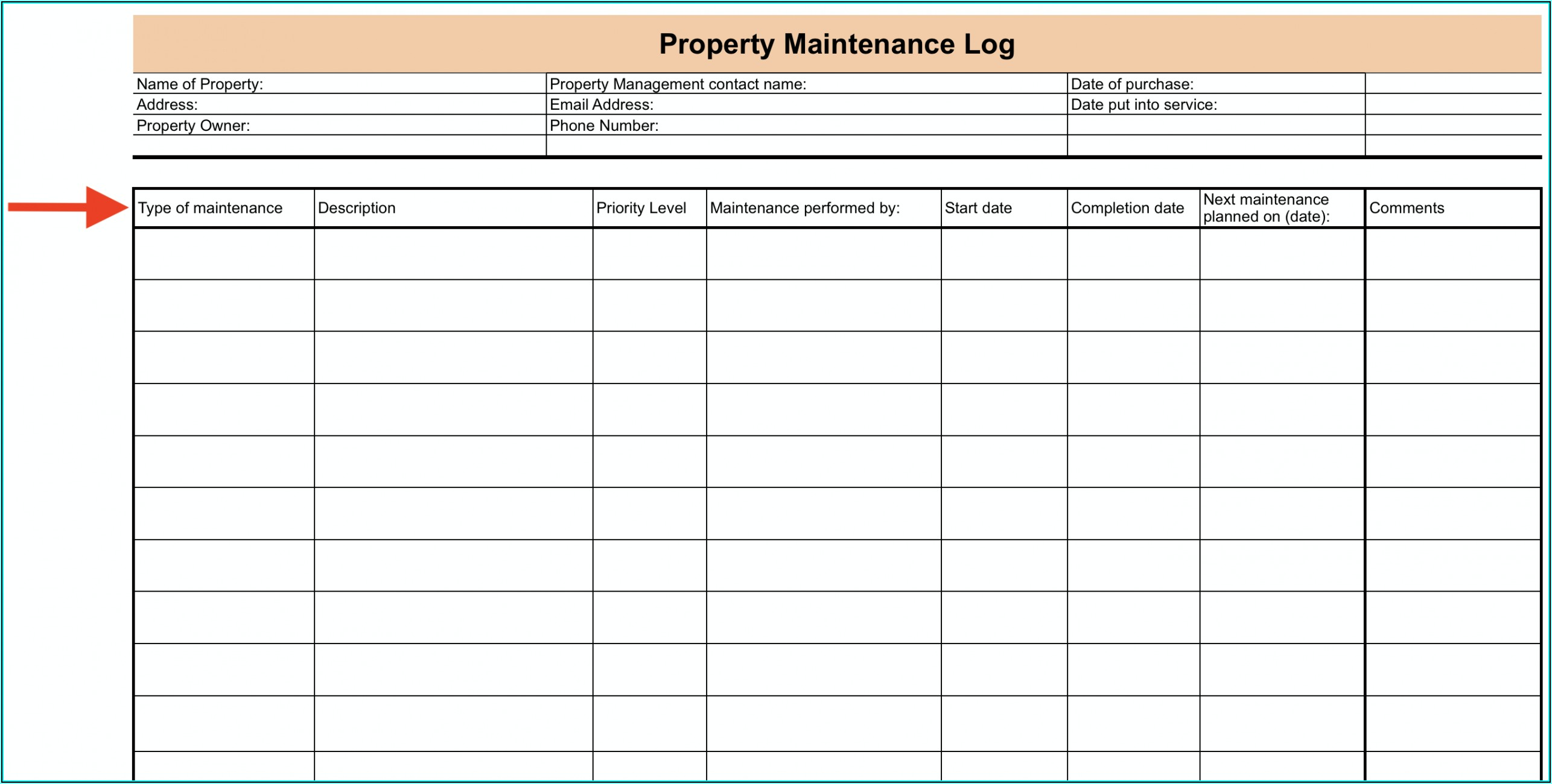 Vehicle Maintenance Log Template Pdf