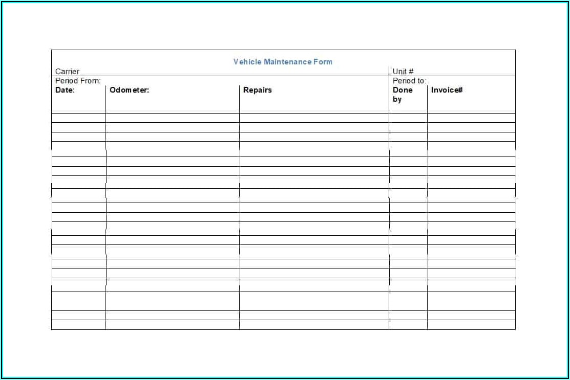 Vehicle Maintenance Records Template