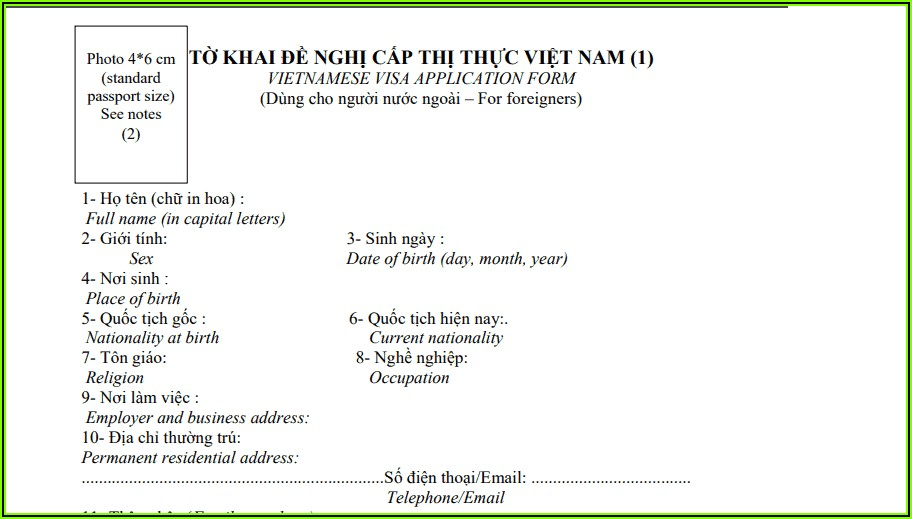 Vietnamese Visa Application Form