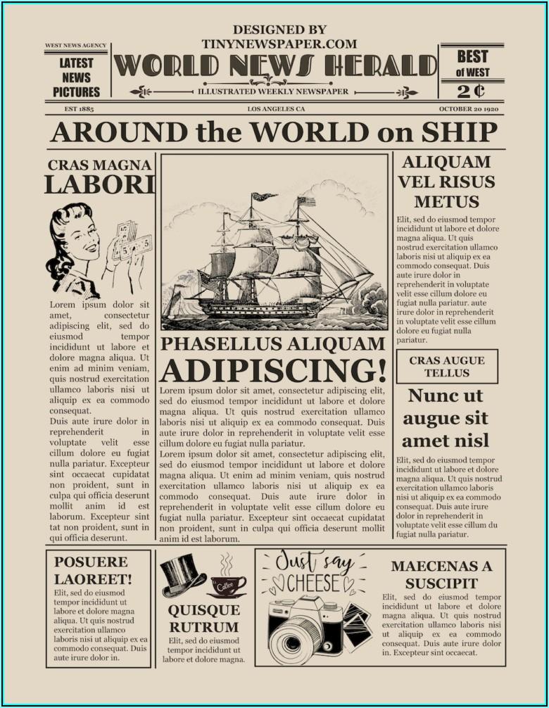 Vintage Newspaper Template Download