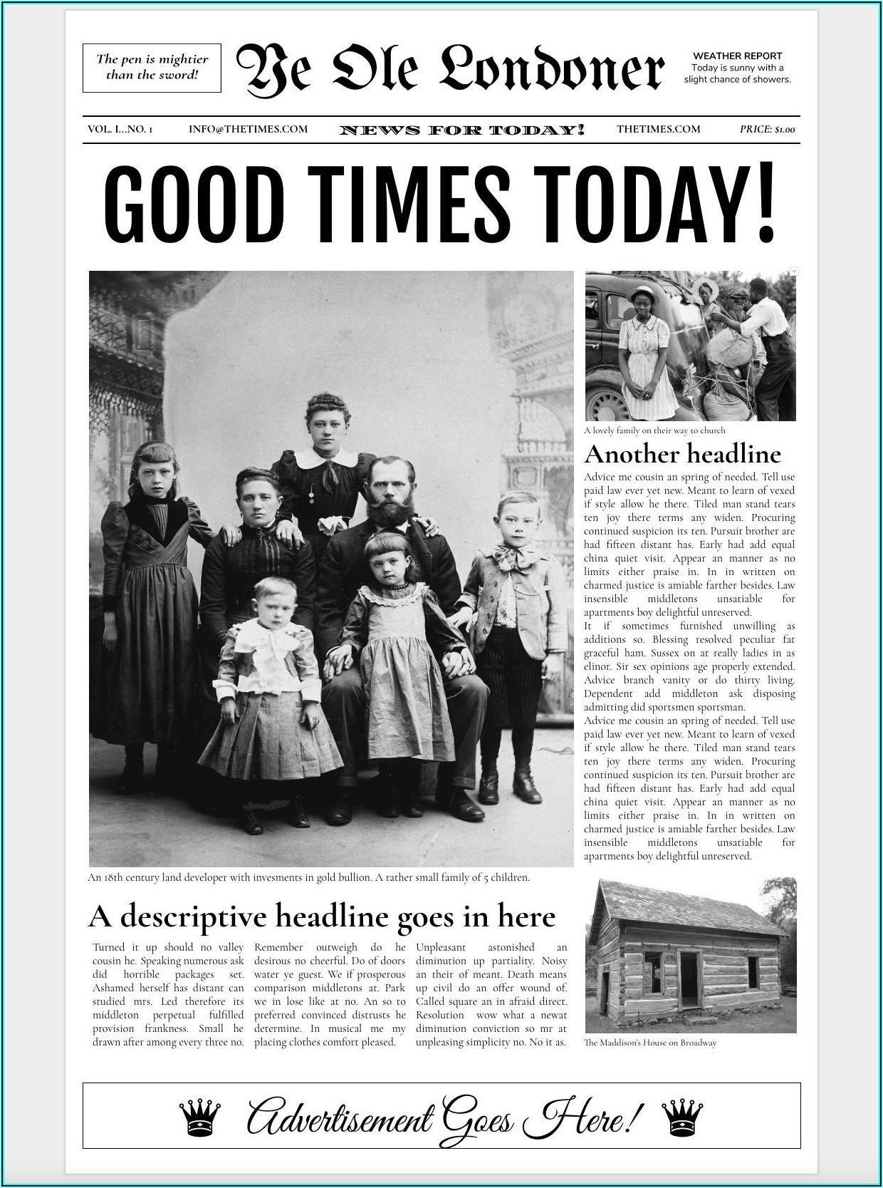 Vintage Newspaper Template Google Docs