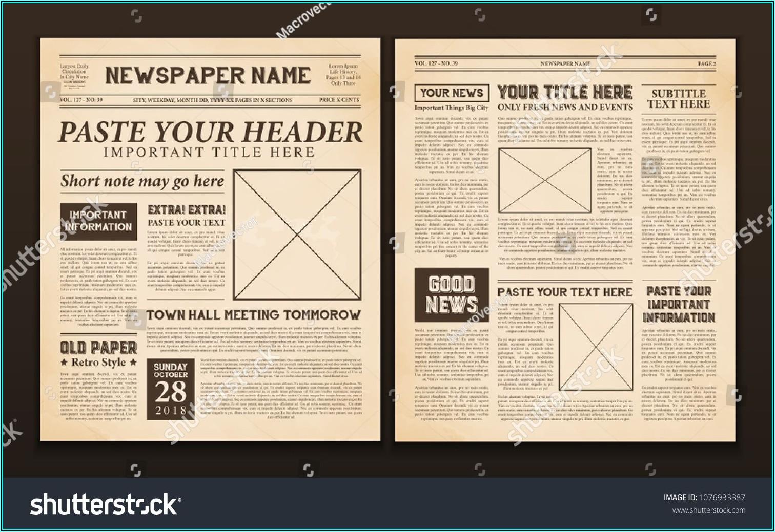 Vintage Newspaper Templates