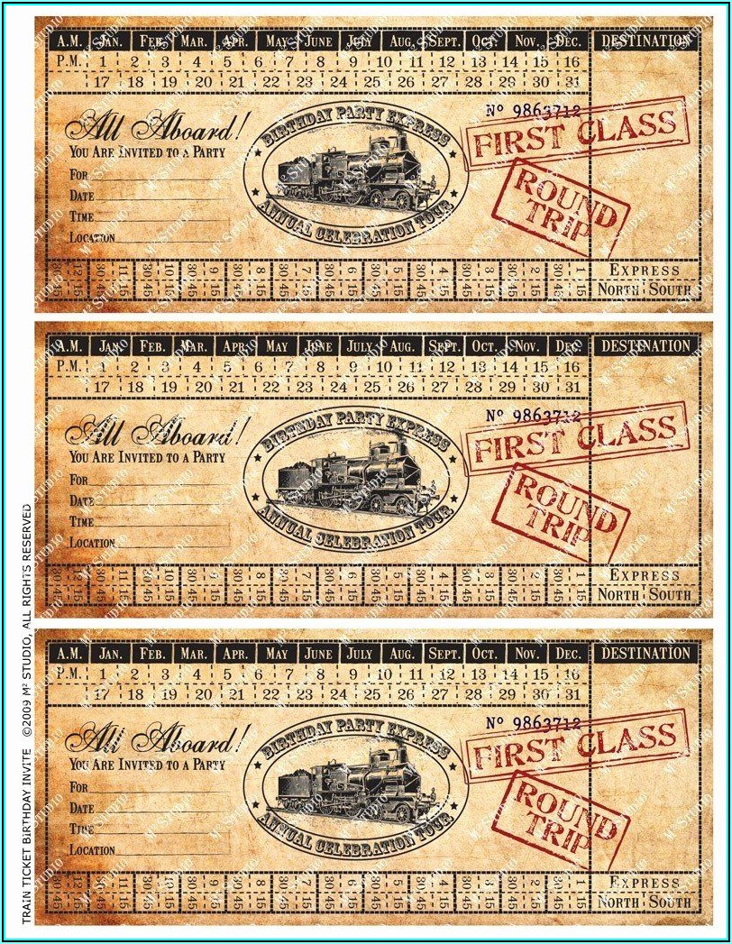 Vintage Train Invitation Template Free