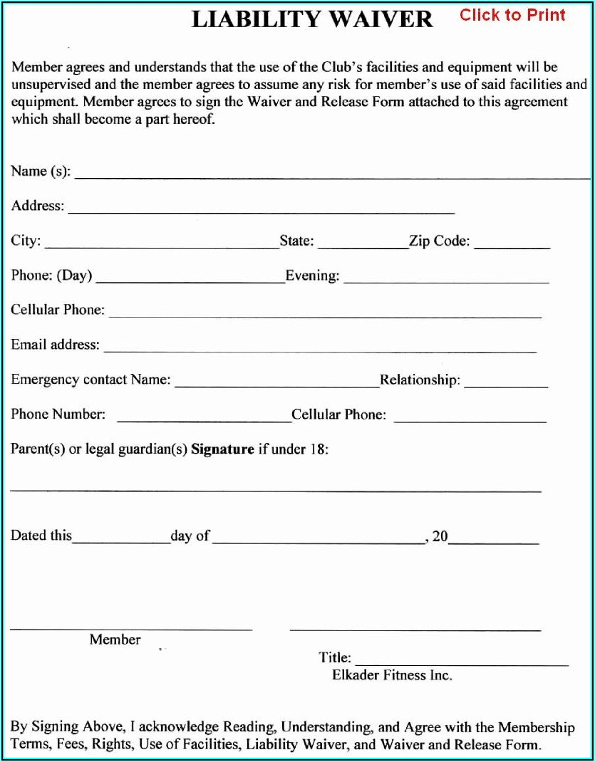 Waiver Form Template For Sports Canada