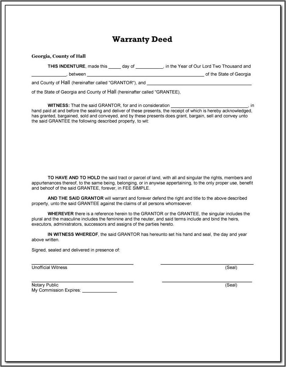 Warranty Deed Template Word