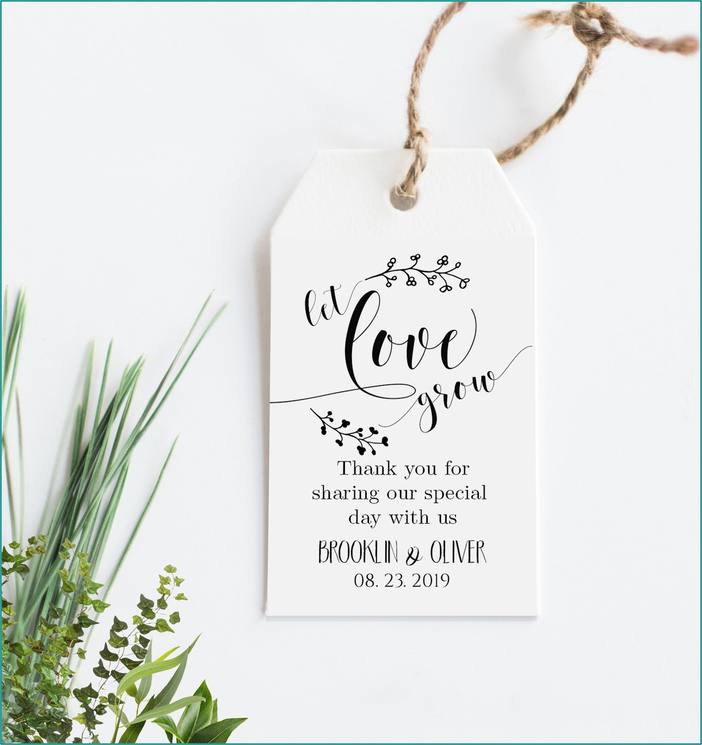 Wedding Favor Tag Template Printable