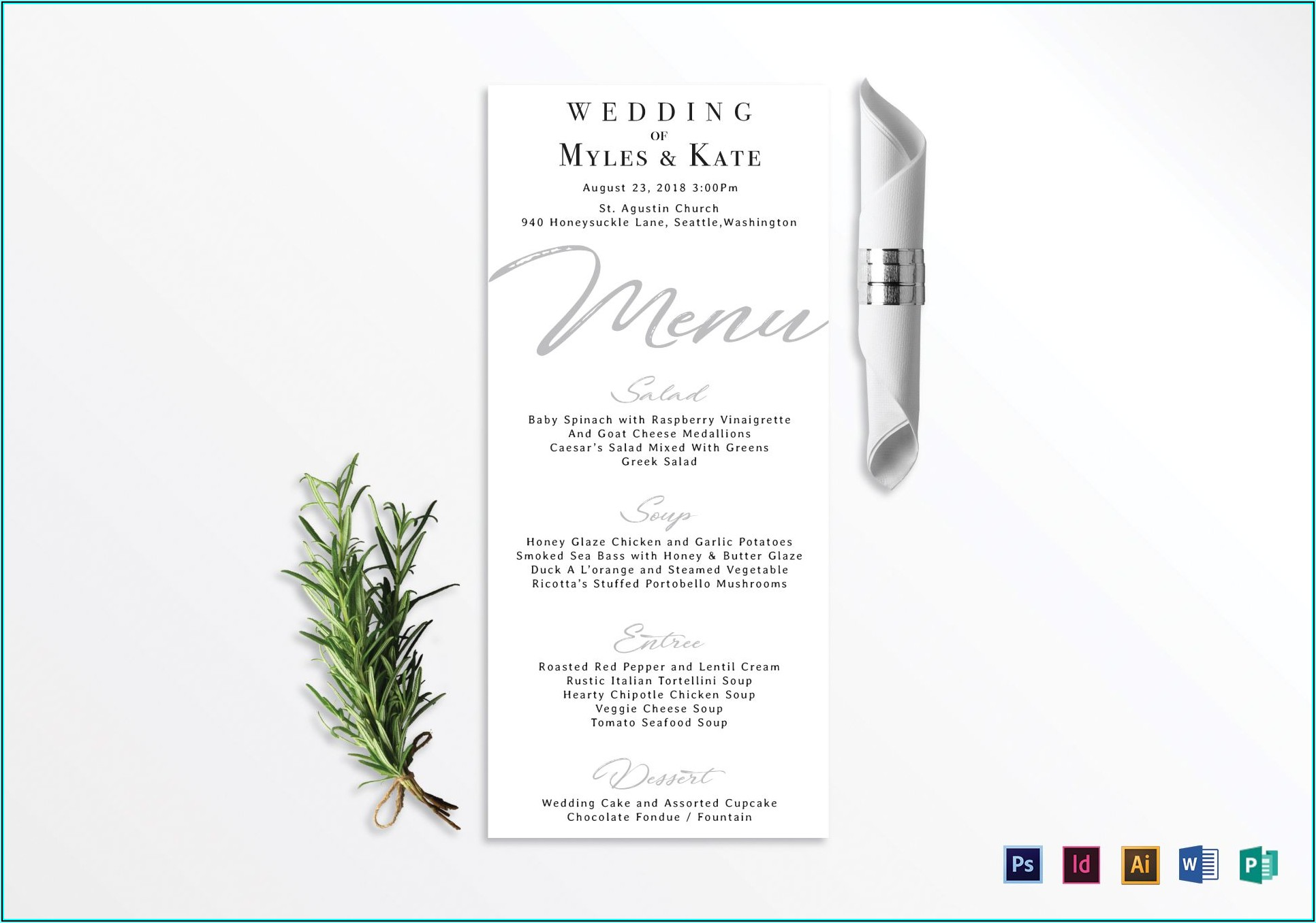 Wedding Menu Card Template Word