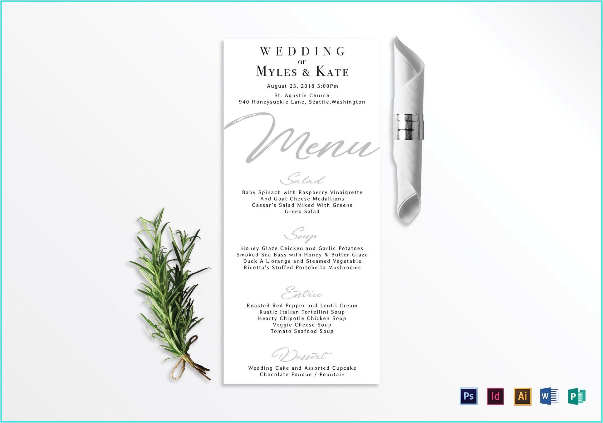 Wedding Menu Card Template Word