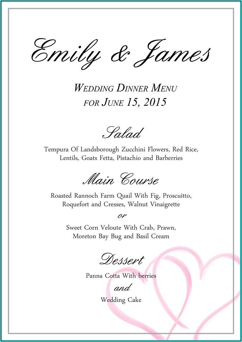 Wedding Menu Templates Free Download Word