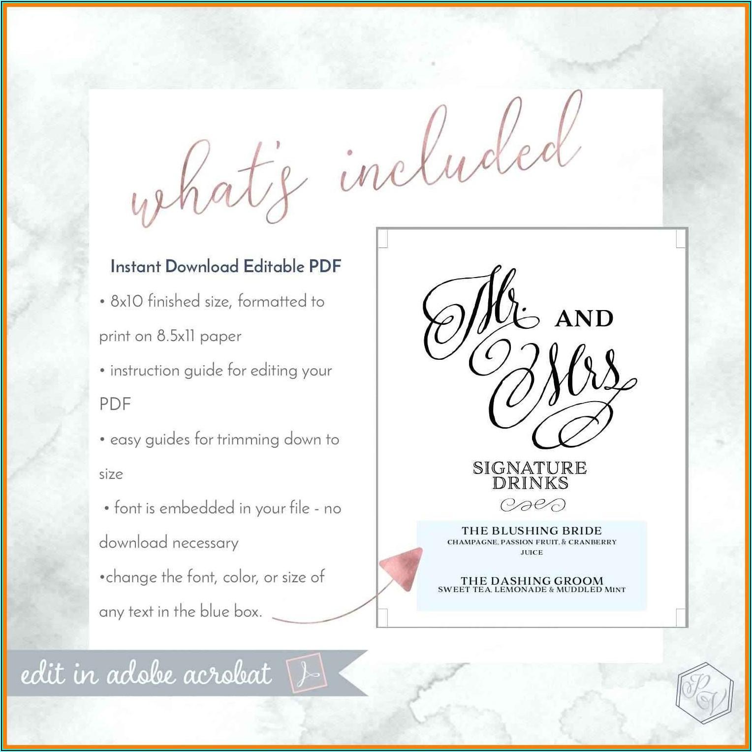 Wedding Menu Templates Free Microsoft Word