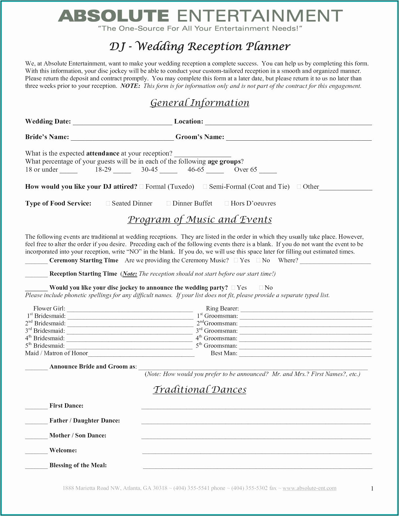 Wedding Planner Contract Example