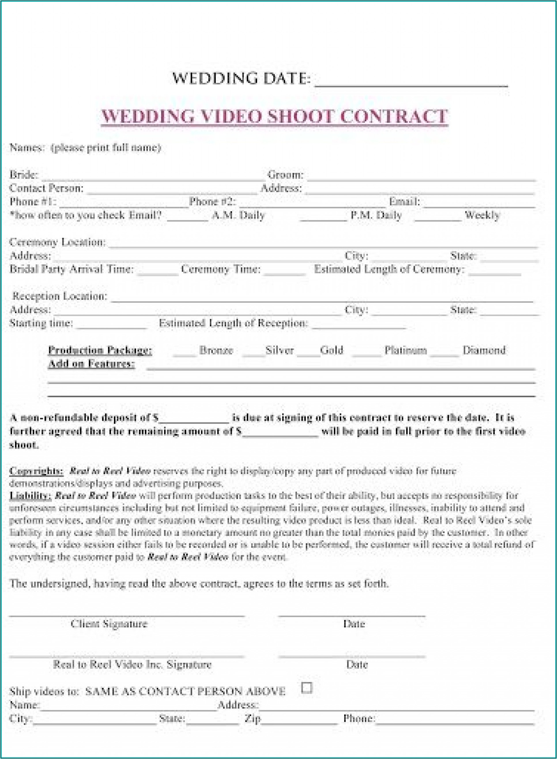 Wedding Planner Contract Template Australia