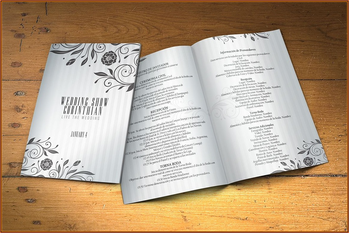 Wedding Program Templates Psd