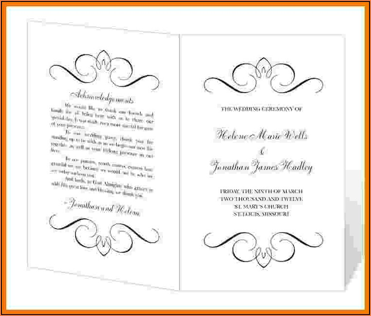 Wedding Program Templates Word