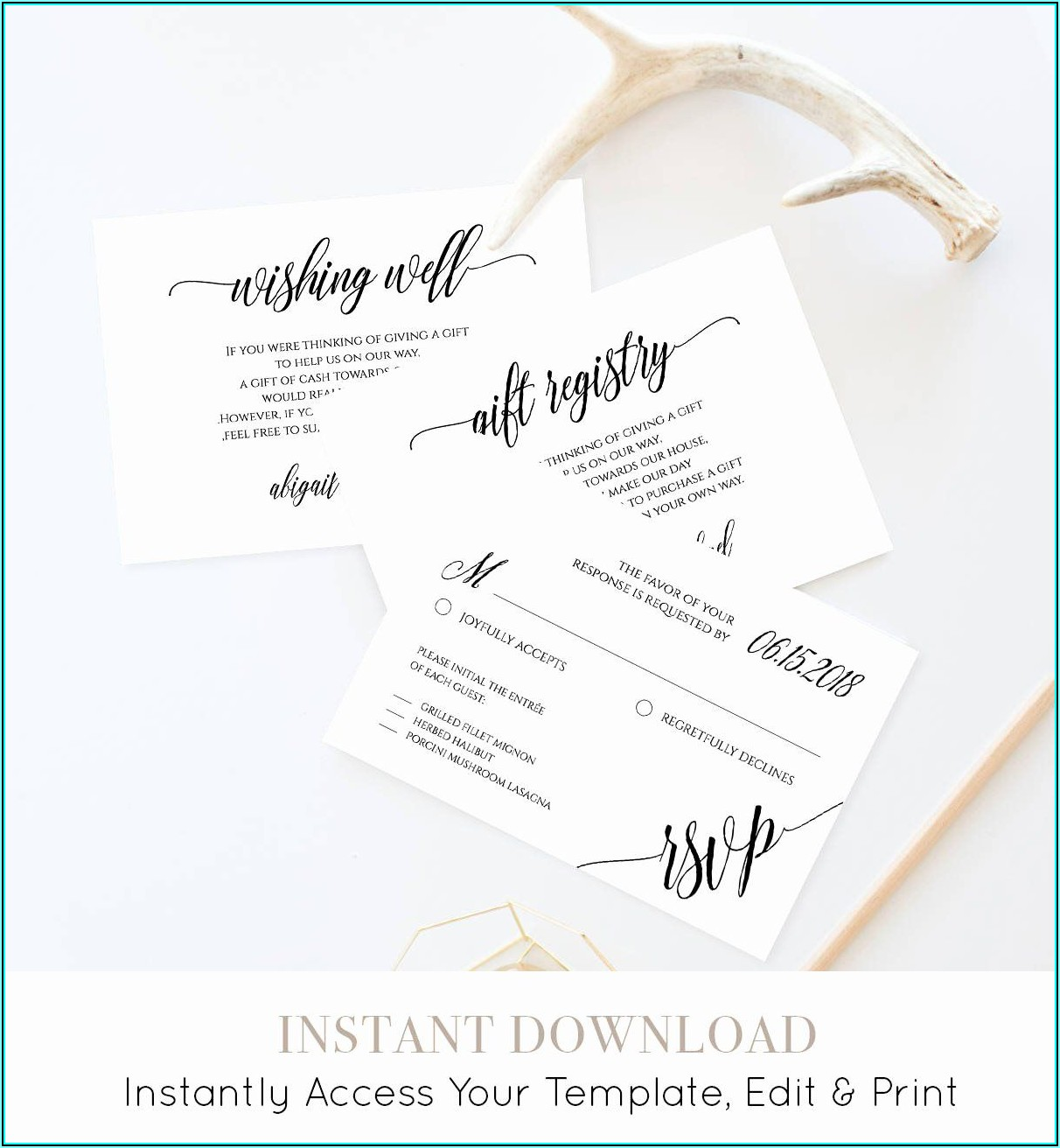 Wedding Registry Insert Card Template