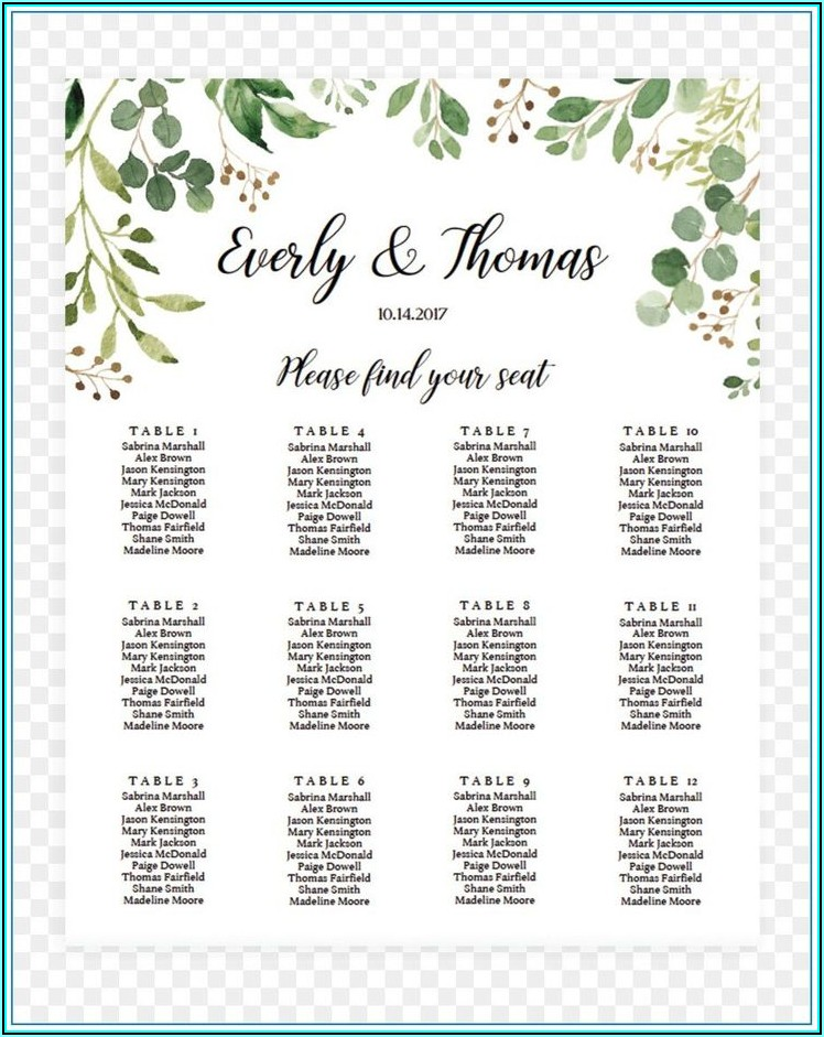 Wedding Seating Chart Template Microsoft Word Free