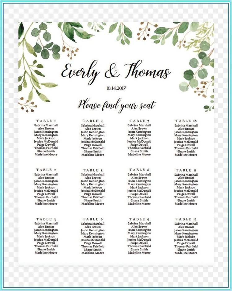 Wedding Seating Chart Template Microsoft Word Free
