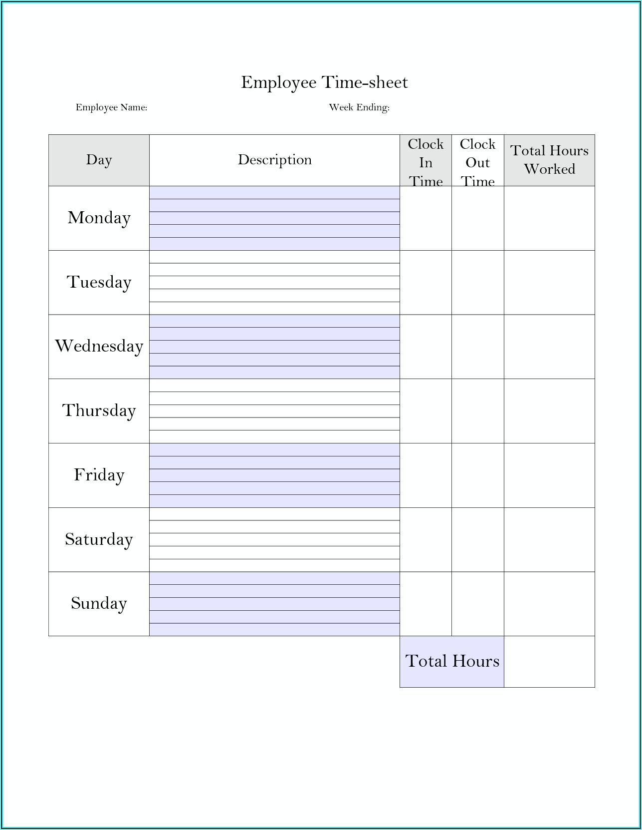 Weekly Timesheet Template Free Printable
