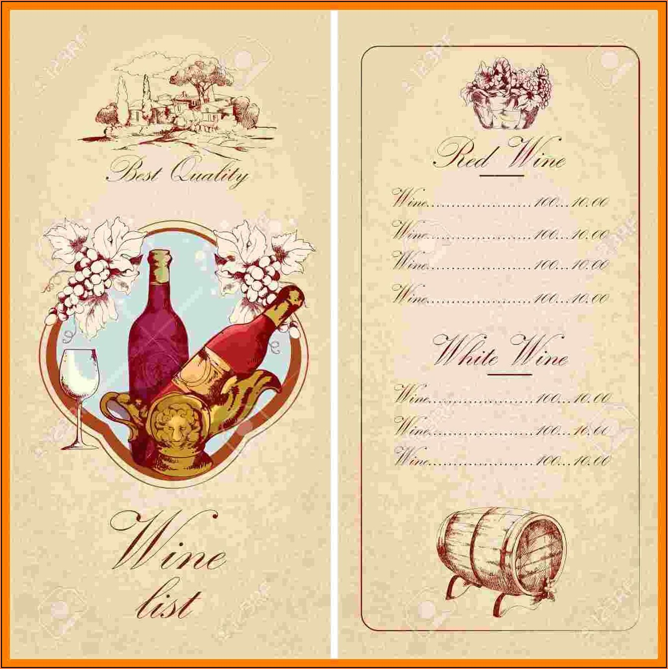 Wine List Menu Template Free