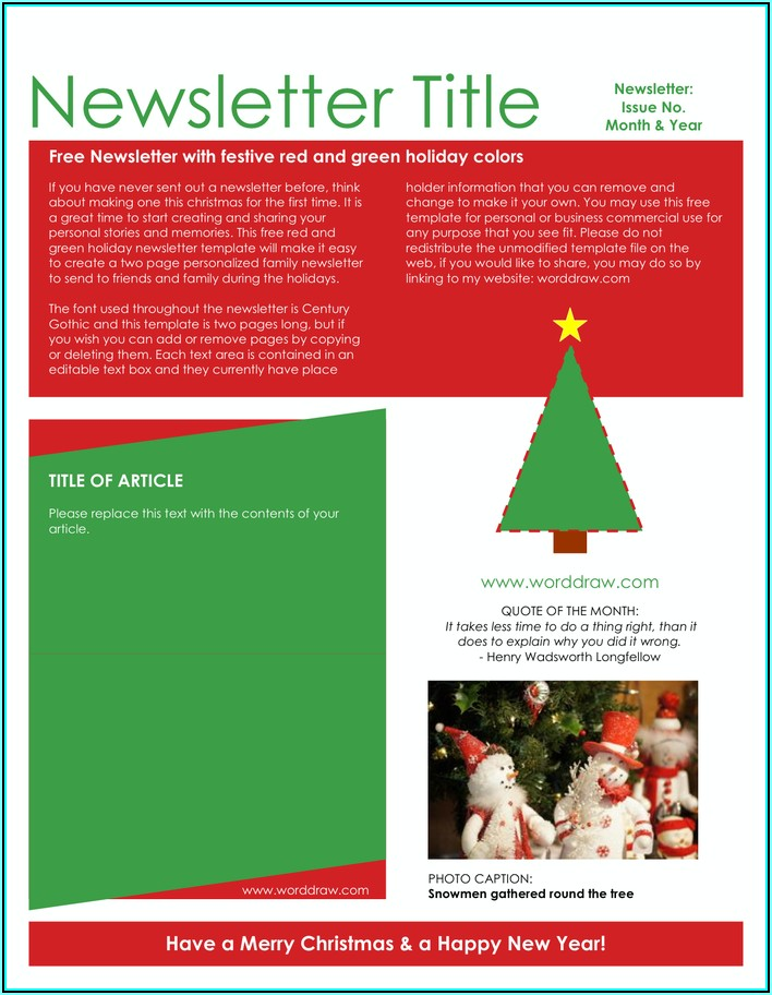 Winter Newsletter Template Word