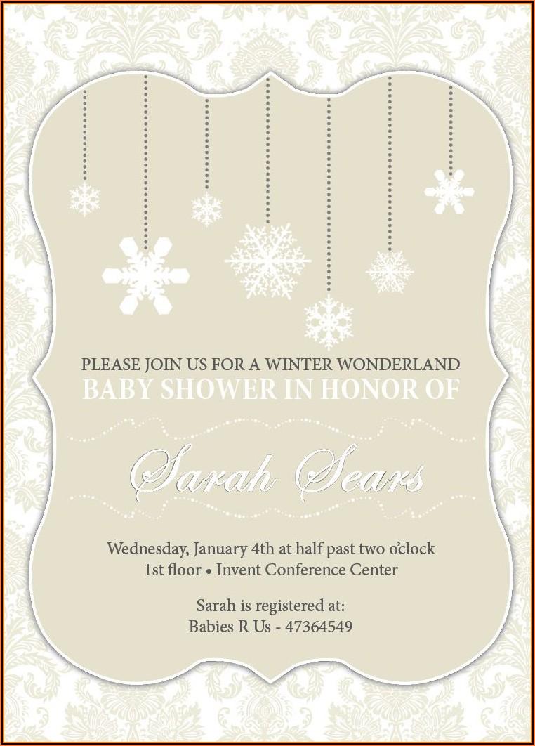 Winter Wonderland Baby Shower Invitations Templates Free