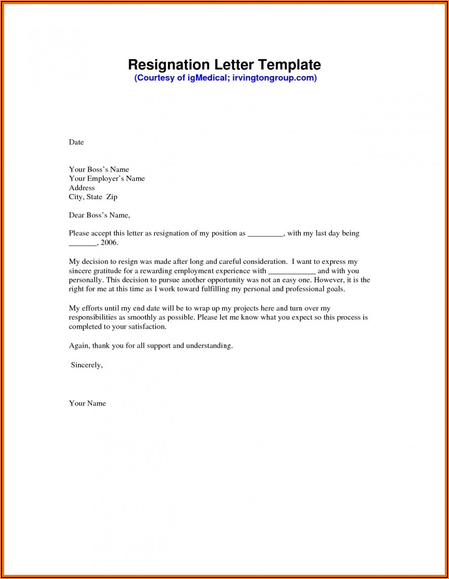 Word Document Letter Of Resignation Template Free