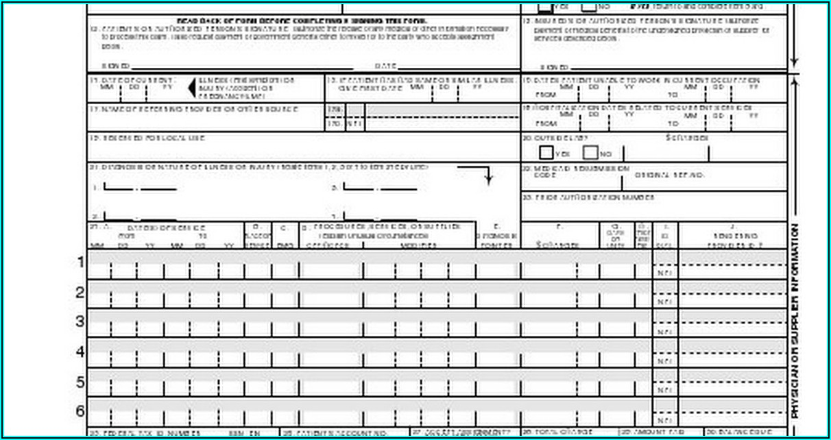 1500 Health Insurance Claim Form Fillable Pdf
