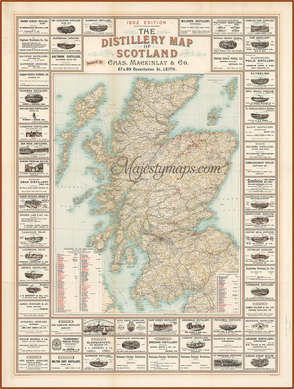 1902 Distillery Map Of Scotland