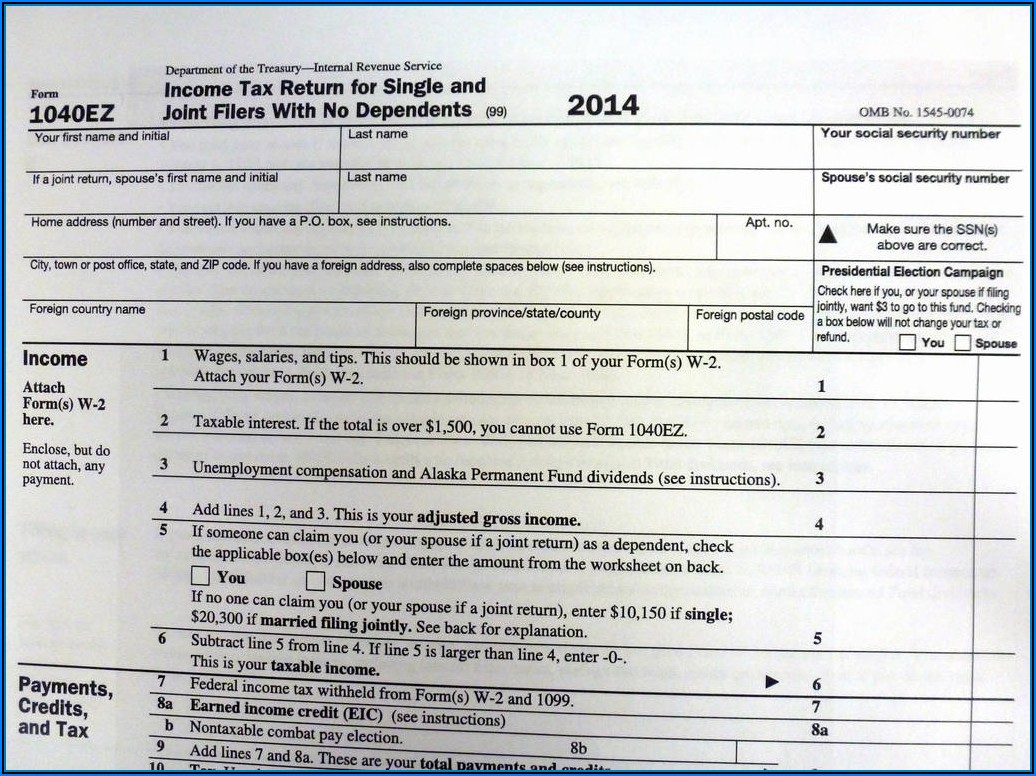2014 Irs Form 1040ez