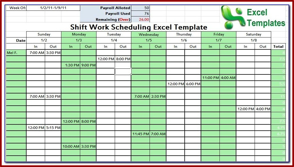 24 Hour Shift Calendar Template