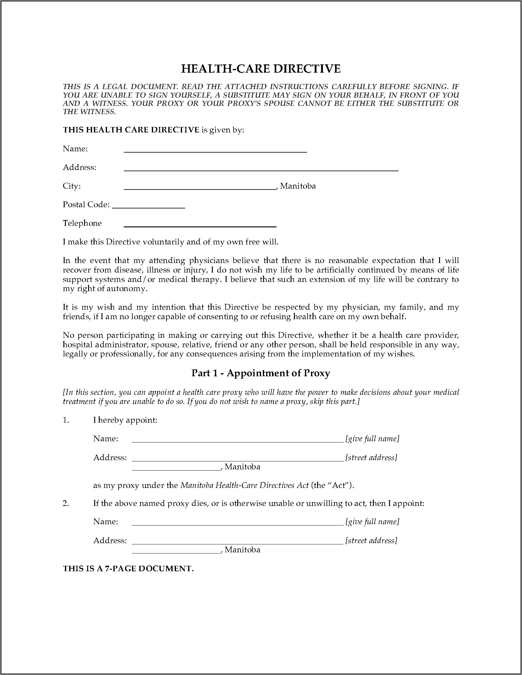 Advance Healthcare Directive Form Ontario