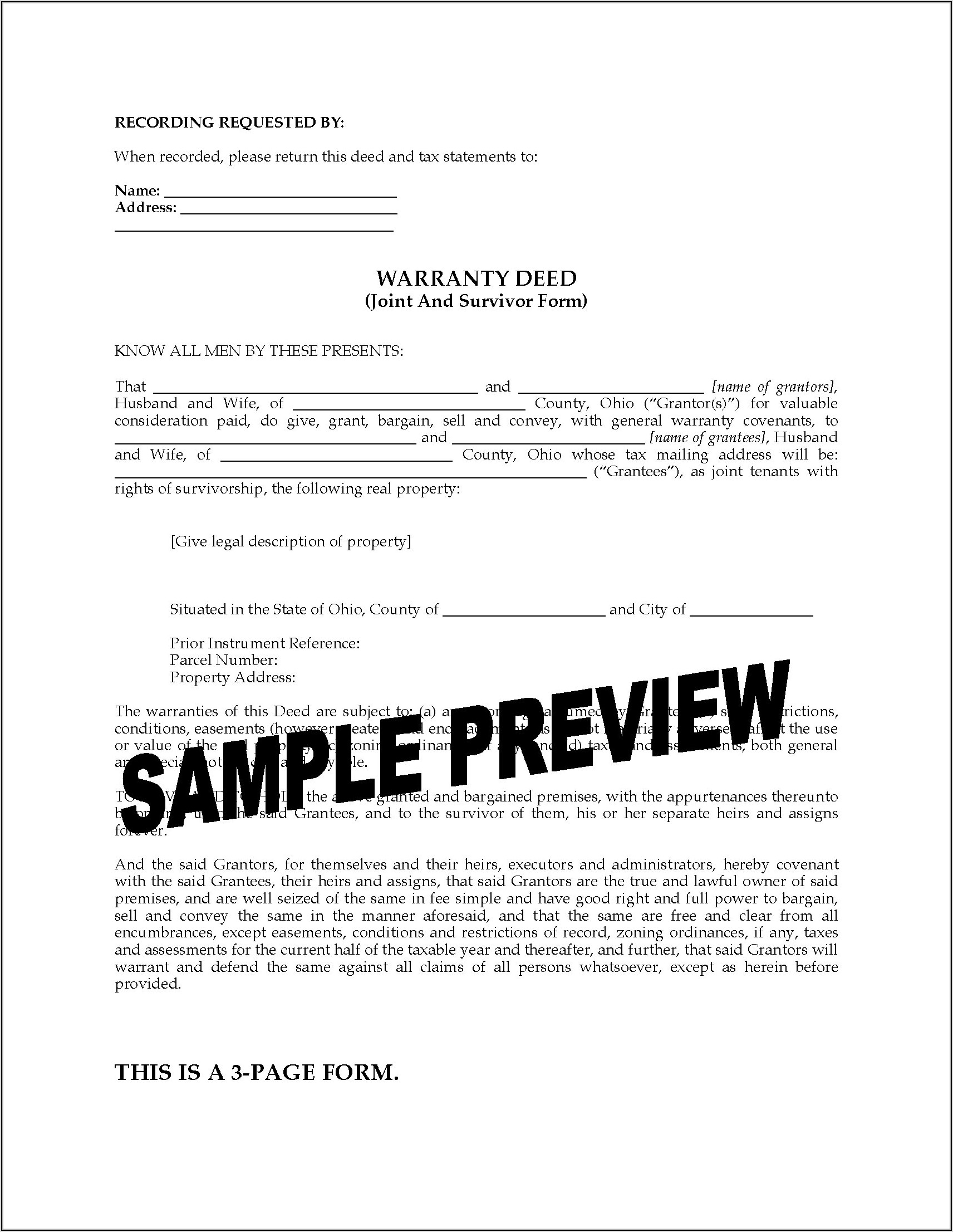 Affidavit Of Survivorship Form Ohio