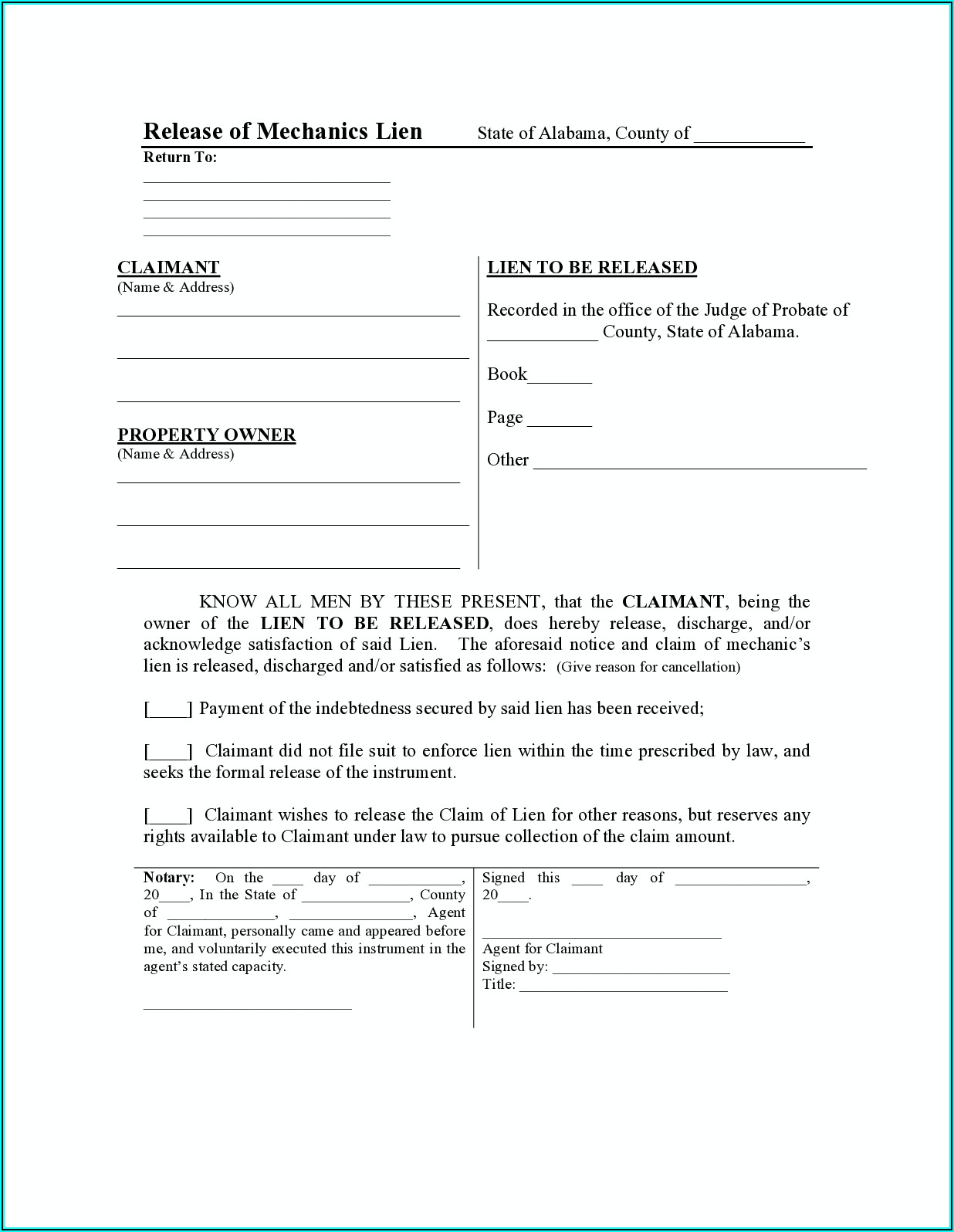 Alabama Release Of Mechanic's Lien Form