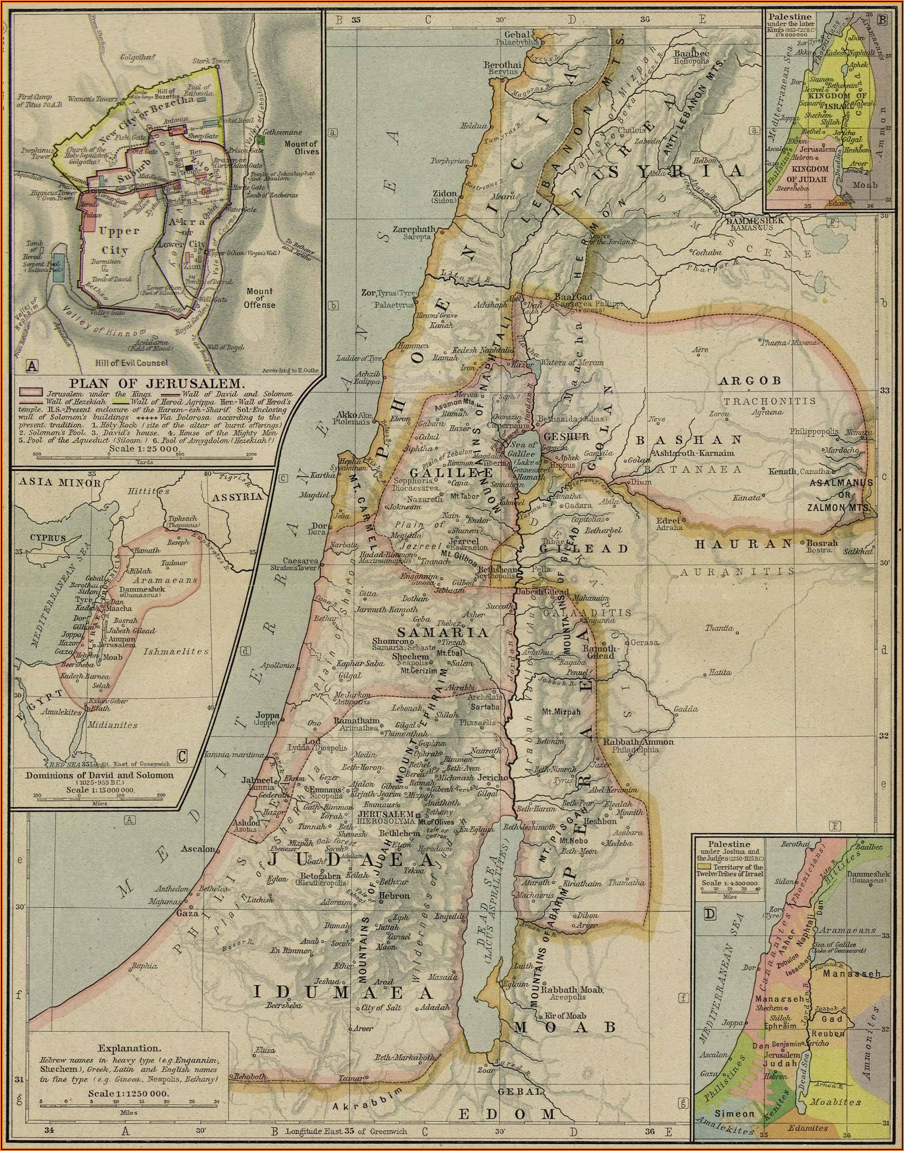 Ancient Map Of Palestine