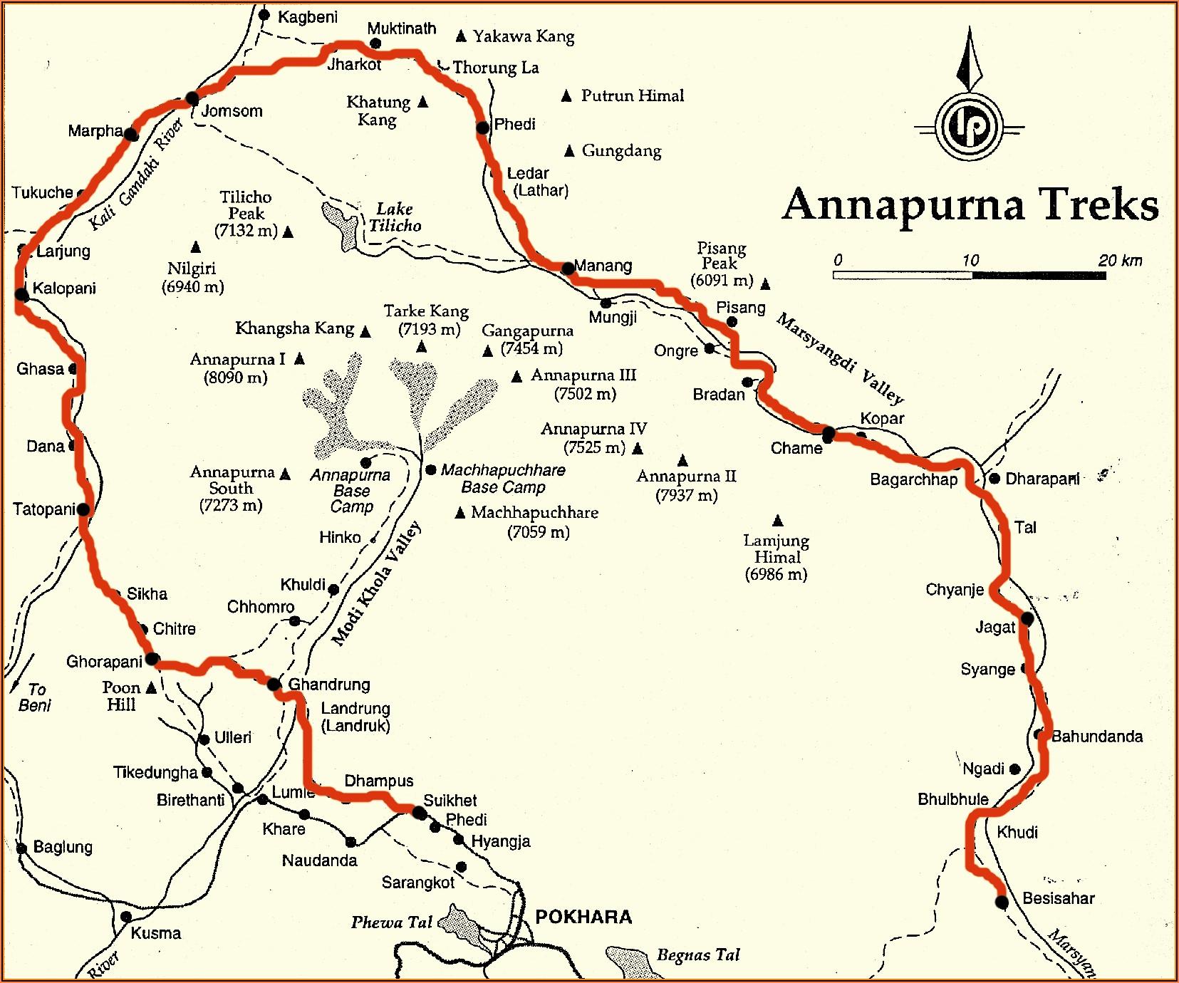 Annapurna Trek Route Map