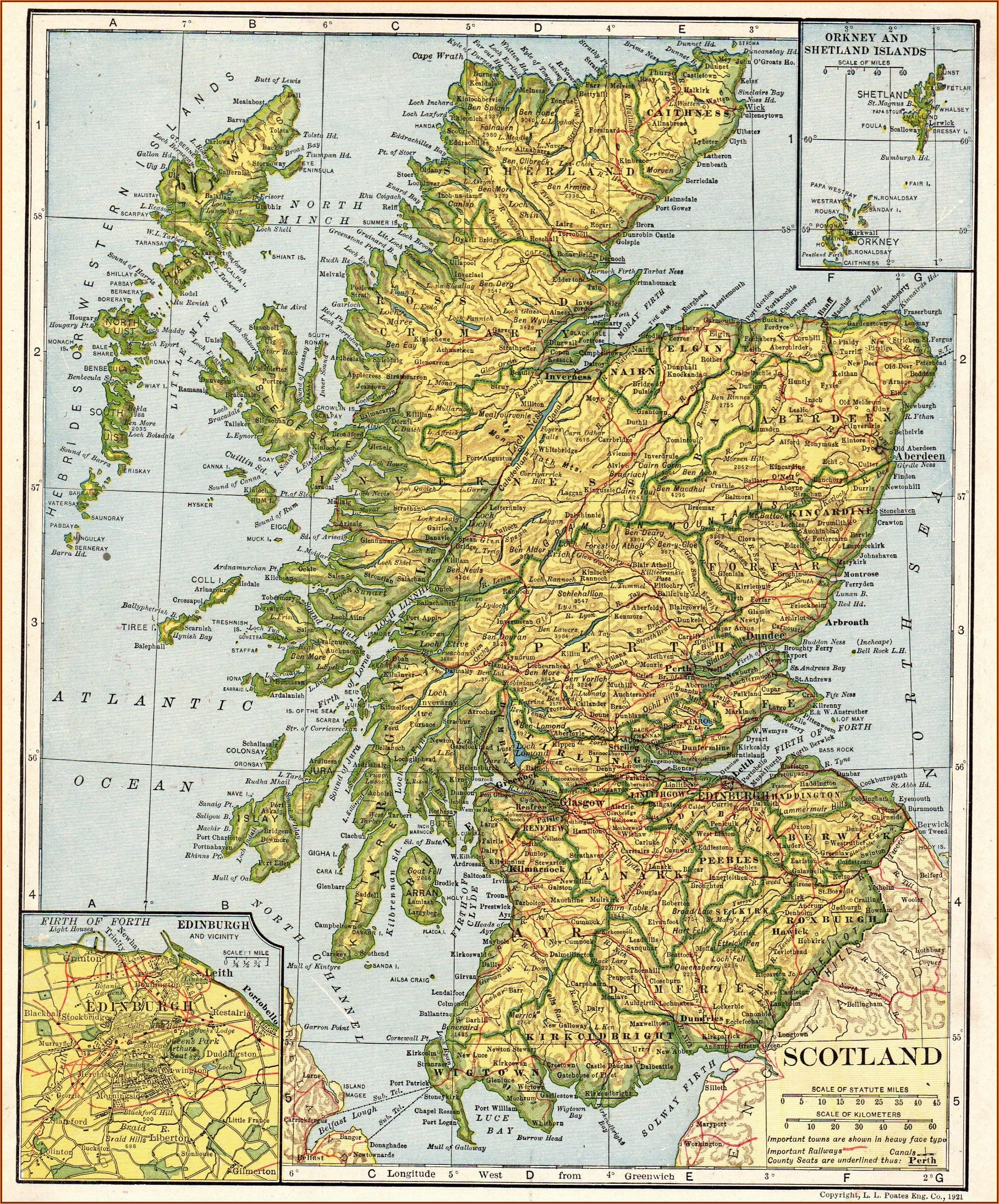 Antique Map Of Scotland Print