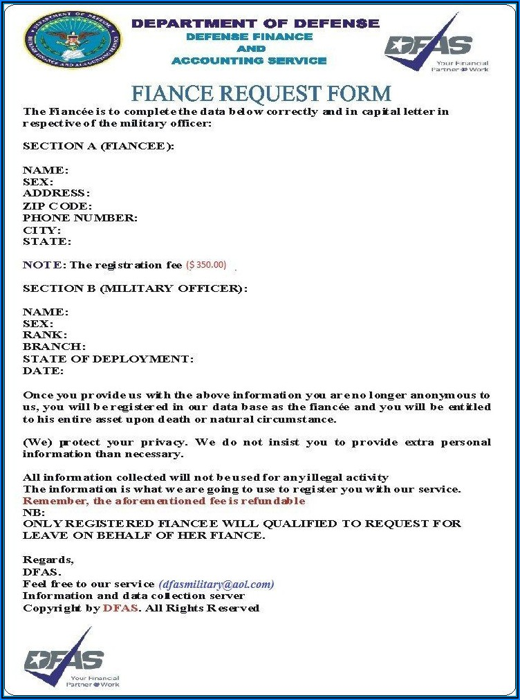 Army Fiance Request Form