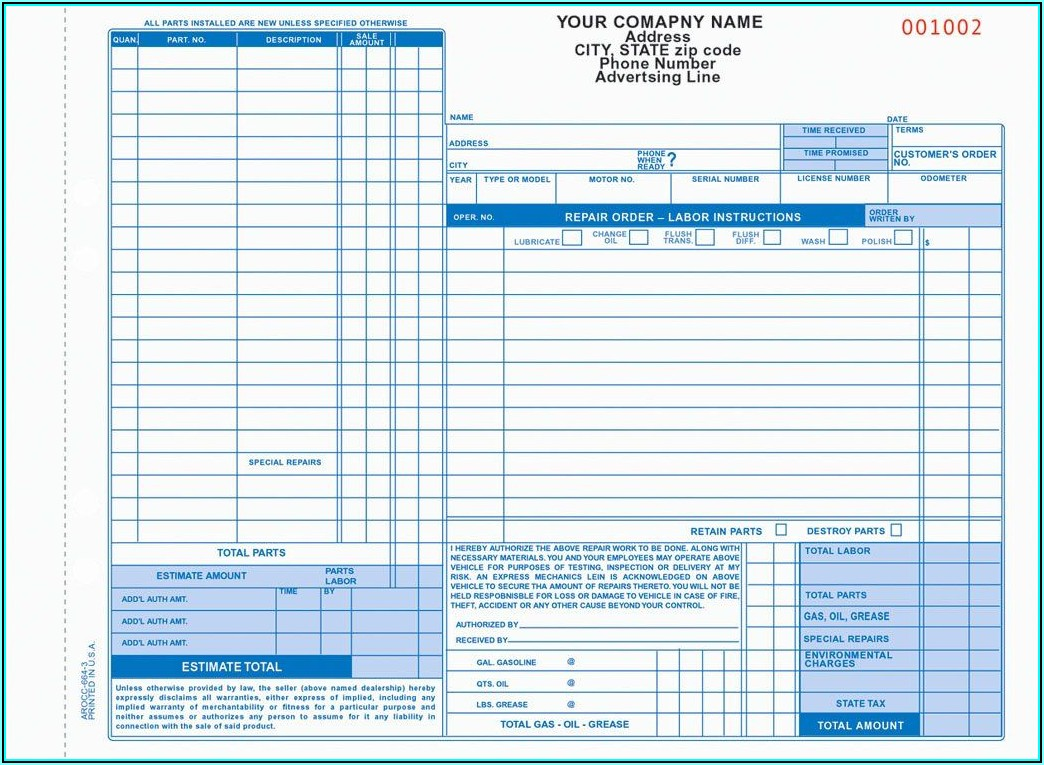 Auto Repair Forms Template