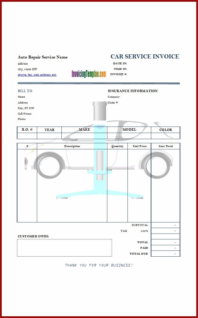 Auto Service Invoice Template Free Download