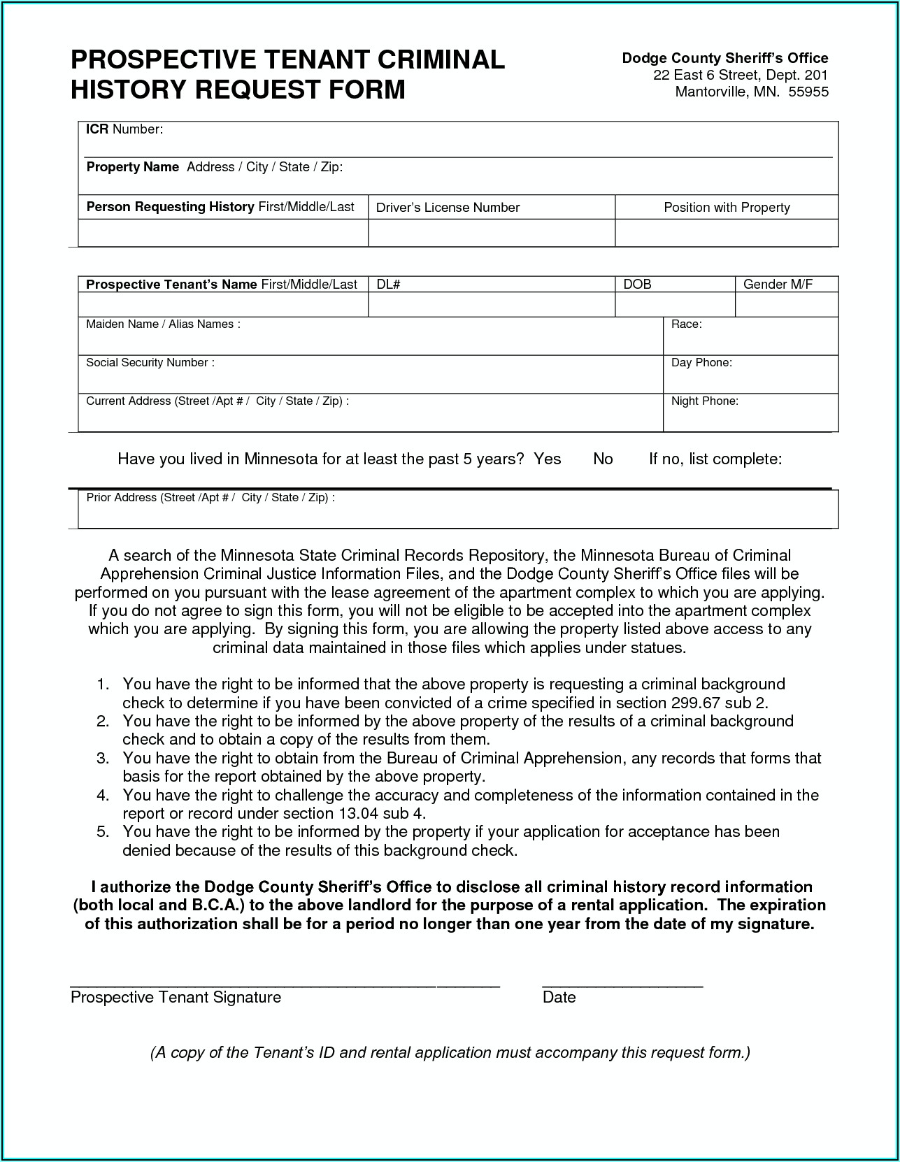 Background Check For Tenants Authorized Form