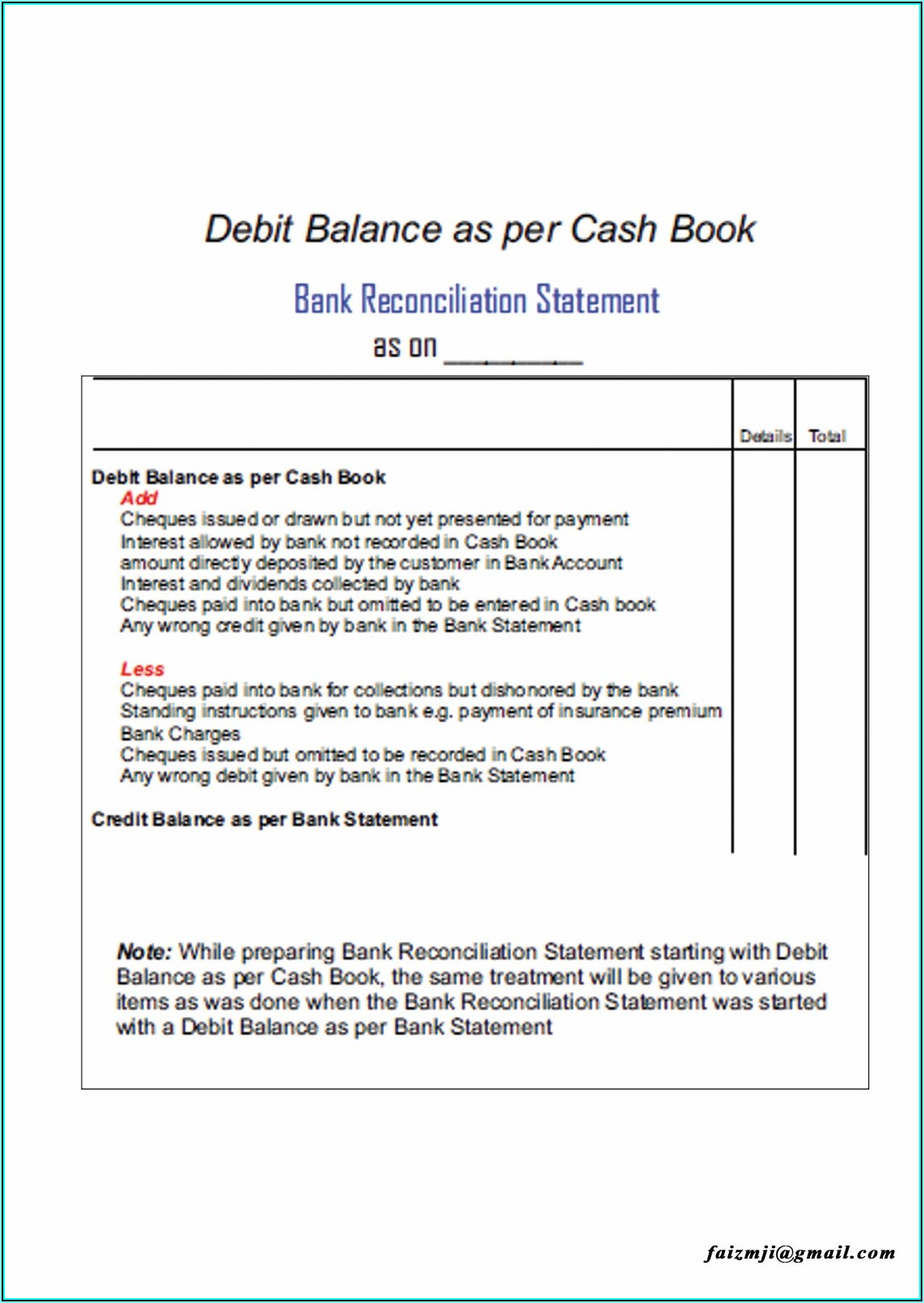 Bank Reconciliation Format In Accounting