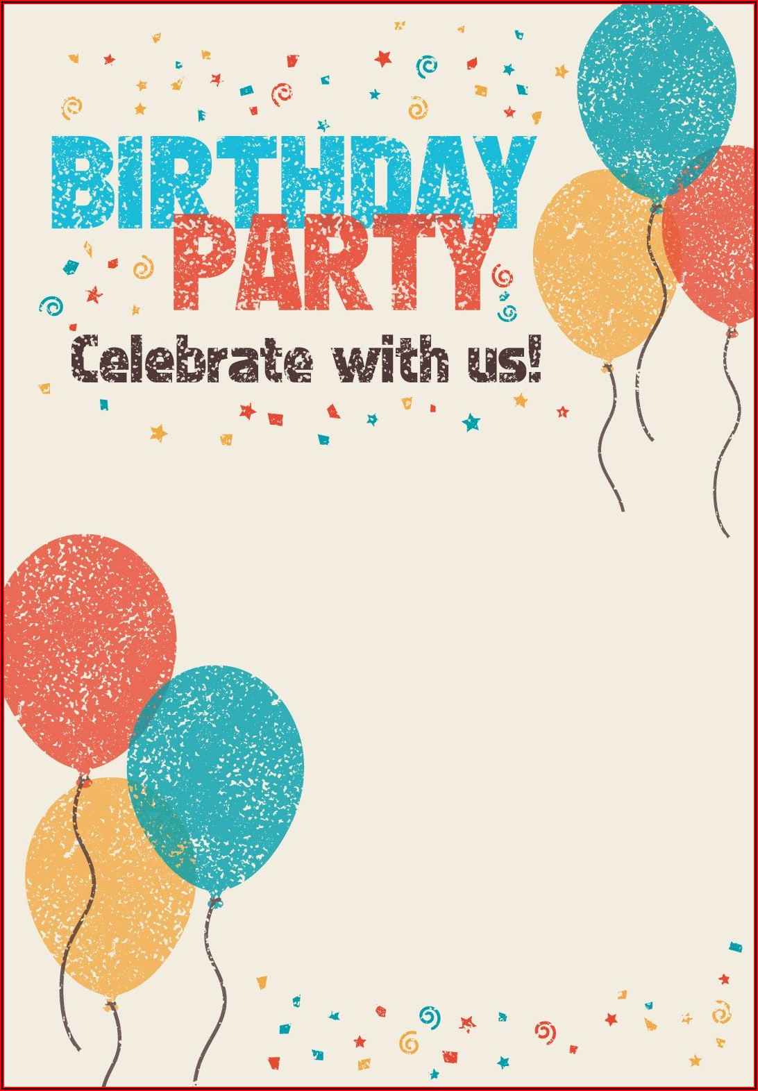 Birthday Postcard Invitations Templates Free