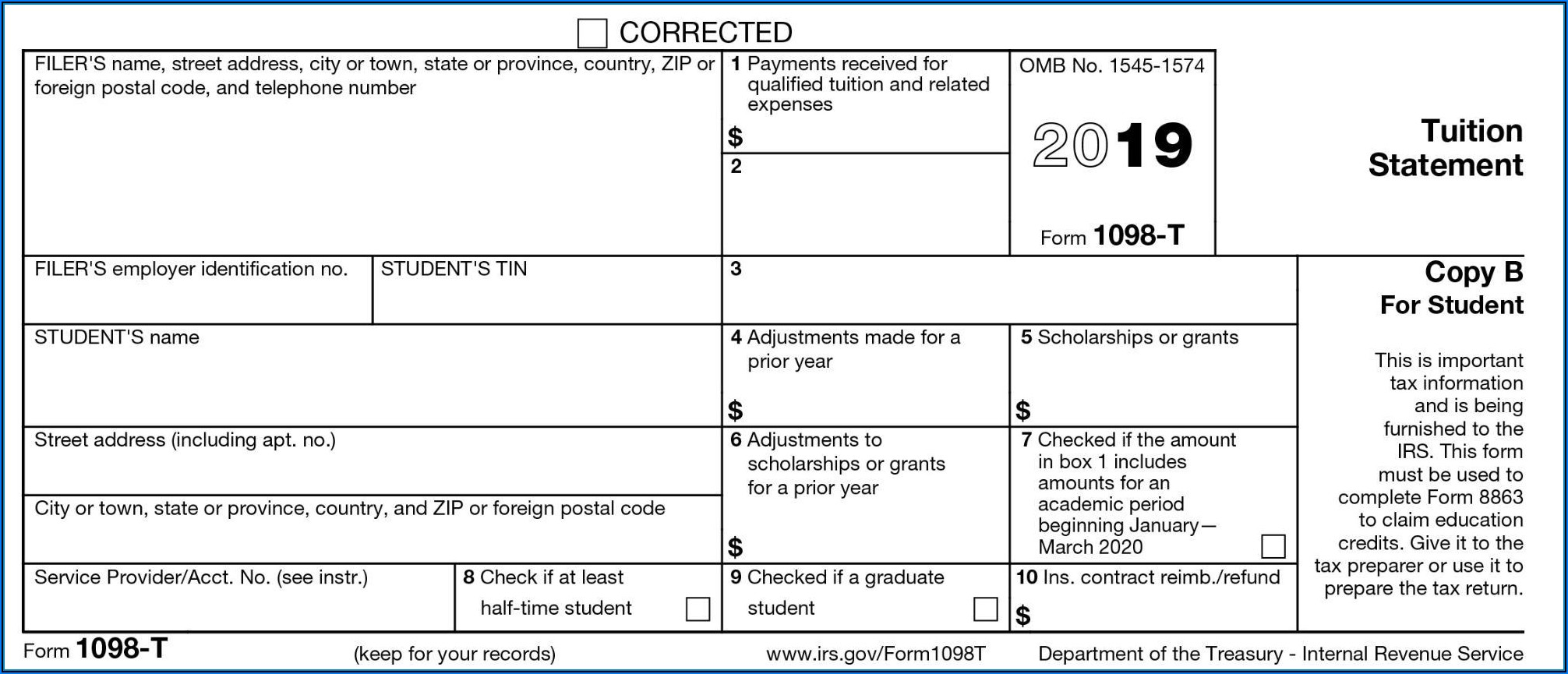 Blank 1098 T Form 2019